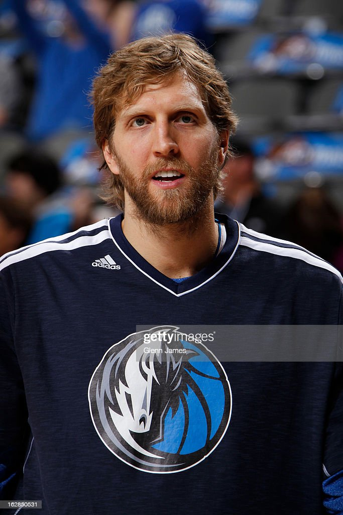 <a gi-track='captionPersonalityLinkClicked' href=/galleries/search?phrase=Dirk+Nowitzki&family=editorial&specificpeople=201490 ng-click='$event.stopPropagation()'>Dirk Nowitzki</a> #41 of the Dallas Mavericks warms up before the game against the Milwaukee Bucks on February 26, 2013 at the American Airlines Center in Dallas, Texas.