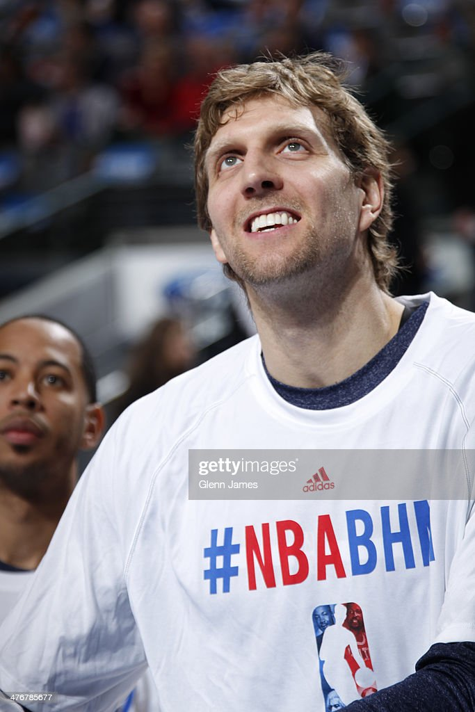 <a gi-track='captionPersonalityLinkClicked' href=/galleries/search?phrase=Dirk+Nowitzki&family=editorial&specificpeople=201490 ng-click='$event.stopPropagation()'>Dirk Nowitzki</a> #41 of the Dallas Mavericks warms up before the game against the Utah Jazz on February 7, 2014 at the American Airlines Center in Dallas, Texas.