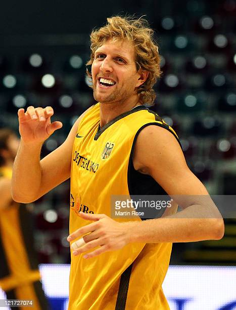 Dirk Nowitzki of the German national basketball team looks on during a training session at Bremen Arena on August 22 2011 in Bamberg Germany