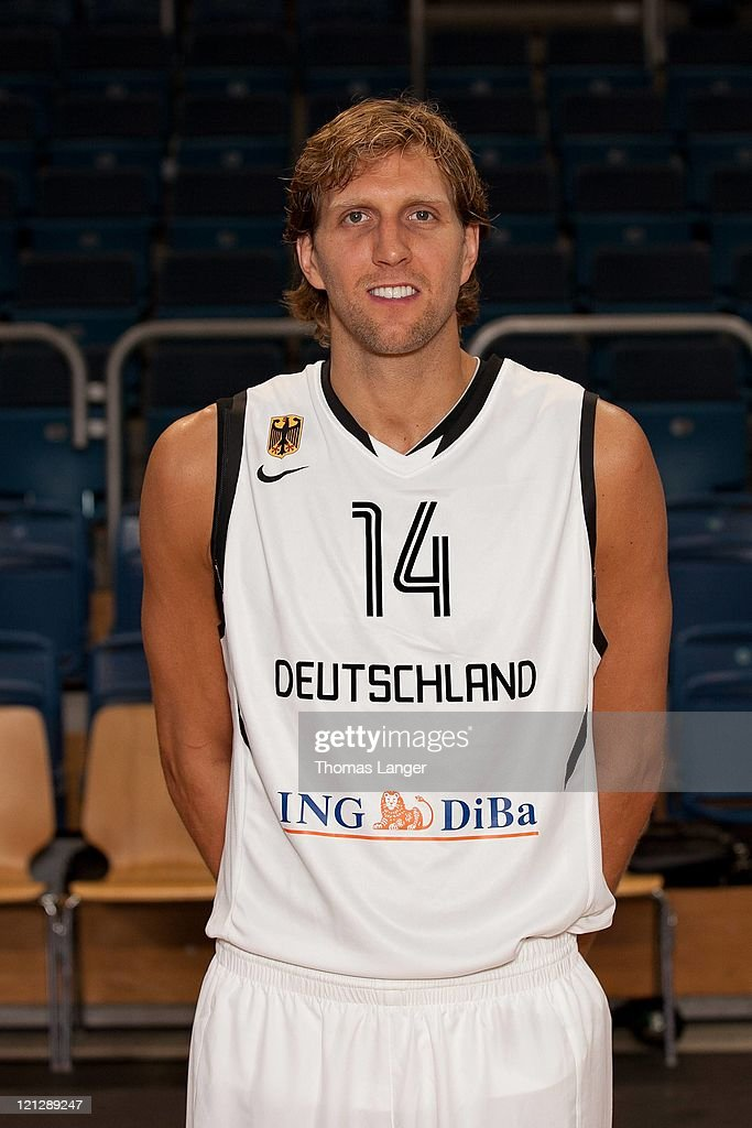 <a gi-track='captionPersonalityLinkClicked' href=/galleries/search?phrase=Dirk+Nowitzki&family=editorial&specificpeople=201490 ng-click='$event.stopPropagation()'>Dirk Nowitzki</a> of the German national basketball team poses during the team presentation at the Stechert-Arena on August 17, 2011 in Bamberg, Germany.