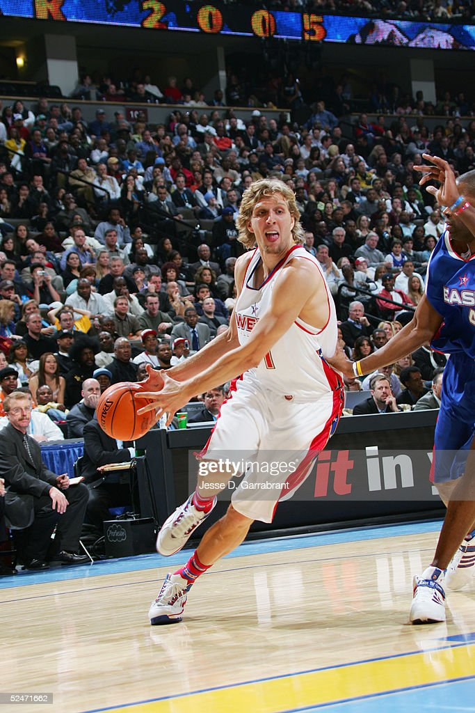 Dirk Nowitzki #41 of the Western Conference All-Stars moves the ball during the 54th All-Star Game, part of 2005 NBA All-Star Weekend at Pepsi Center on February 20, 2005 in Denver, Colorado. The East defeated the West 125-115.