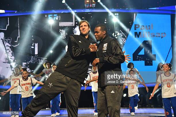 Dirk Nowitzki playing for the West Coast allstars and Kevin Durant playing for the West Coast allstars greet each other prior to the 2015 NBA AllStar...