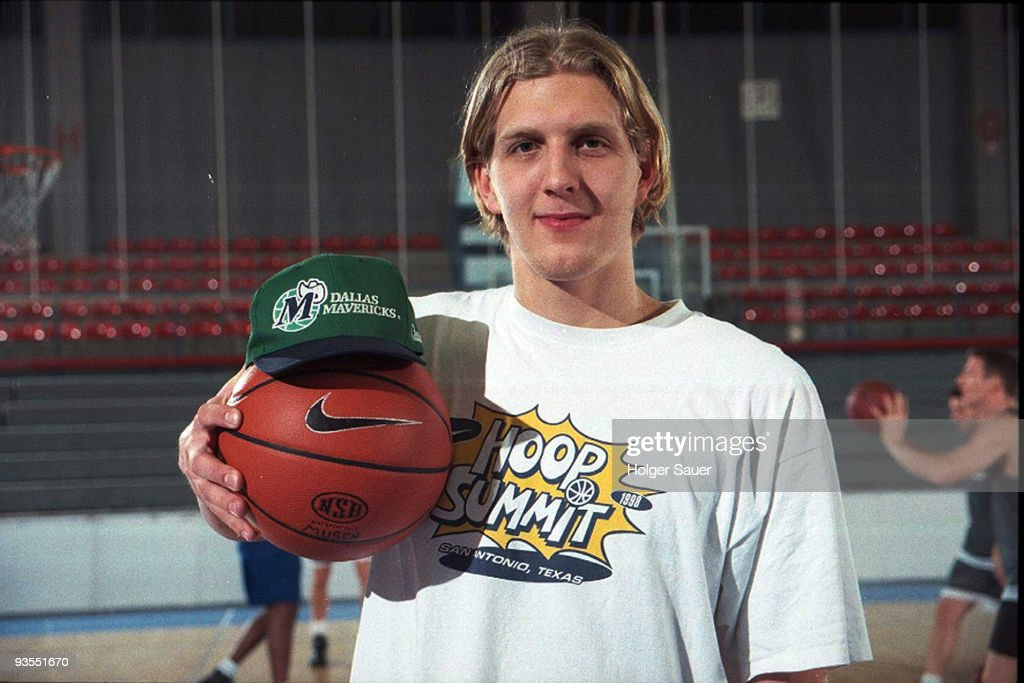 Dirk Nowitzki poses during a photo shooting on November 27, 1998 in Bonn, Germany