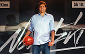 Dirk Nowitzki poses during a press conference for the movie 'Der perfekte Wurf' at ING DiBa headquarters on July 17 2014 in Frankfurt am Main Germany