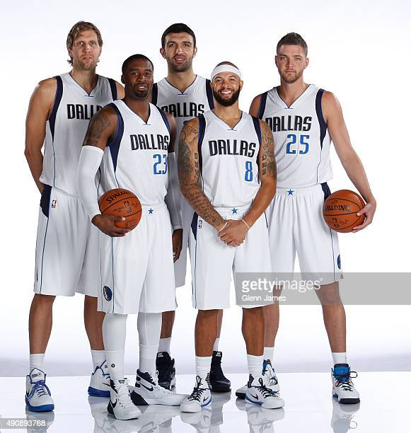 Dirk Nowitzki Wesley Matthews Zaza Pachulia Deron Williams and Chandler Parsons of the Dallas Mavericks pose for a photo during media day on...