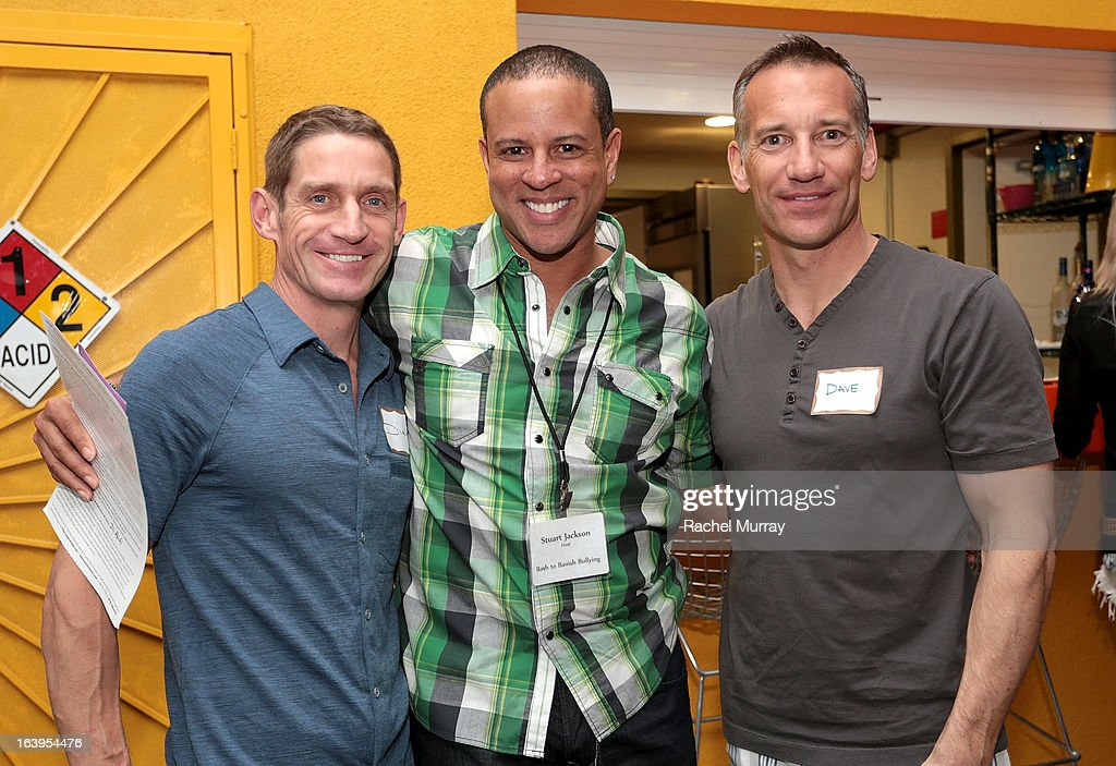 Dirk Schultz, Stuart Jackson, and Dave Lusk attend a Tequila Tasting during the Bash To Banish Bullying Benefiting It Gets Better, a Matrix Chairs Of Change Event - Day 1 at Saguaro Hotel on March 16, 2013 in Palm Springs, California.