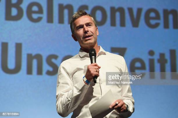 Dirk Steffens speaks on stage at special screening of 'An Inconvenient Sequel Truth to Power' at Zoo Palast on August 8 2017 in Berlin Germany