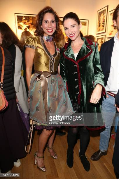 Dirndl fashion designer Lola Paltinger and Sophie Meister Wepper during the 'Ellen von Unwerth HEIMAT' Exhibition Opening at Immagis Fine Art...