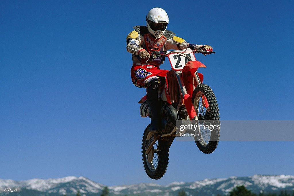 Dirt biker in mid-air