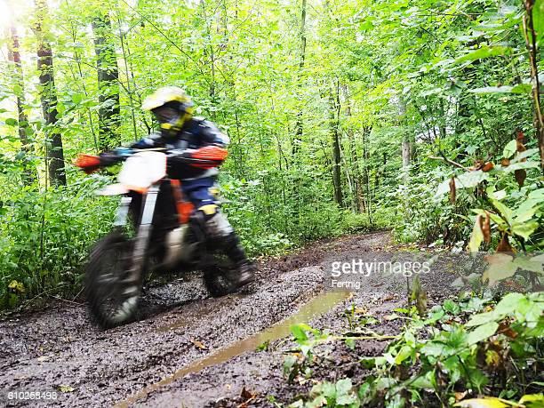 Dirt biking in the woods