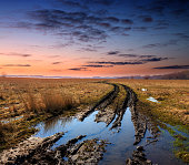 dirt road in spring steppe after rain against sunset