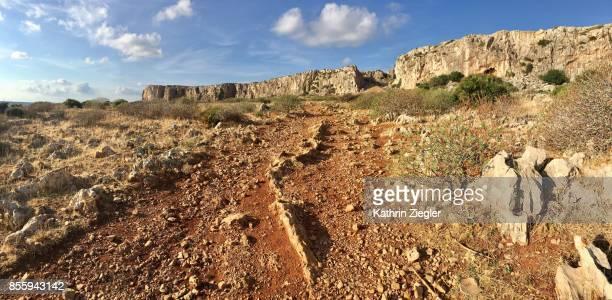 Dirt road near San Vito lo Capo, Sicily, panoramic image