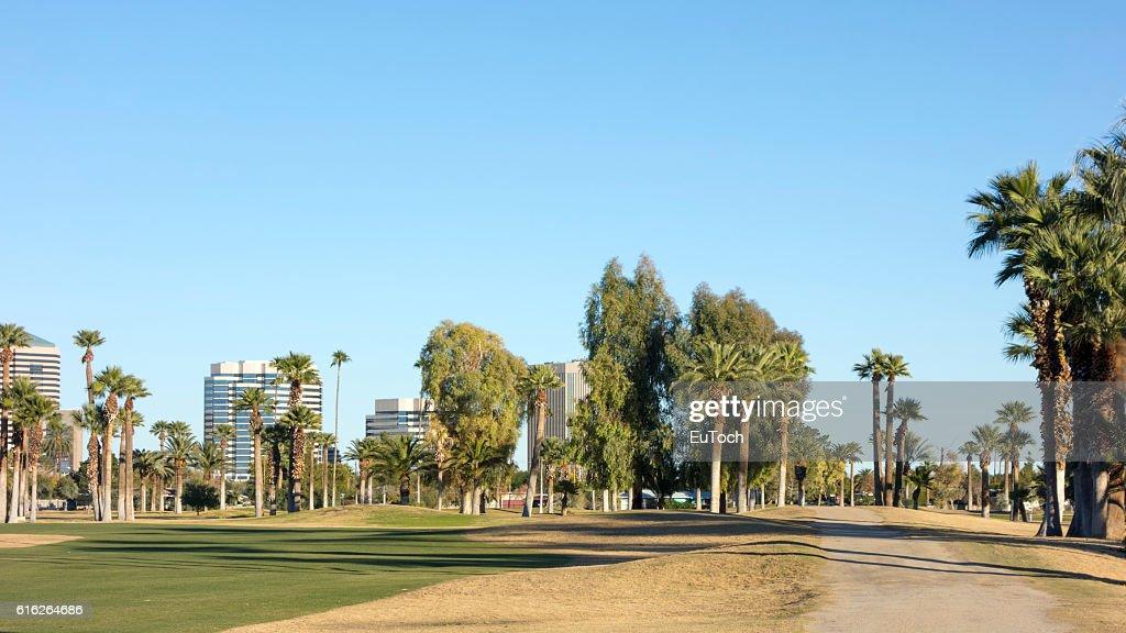 Dirt Road to Phoenix Downtown, AZ : Stock Photo