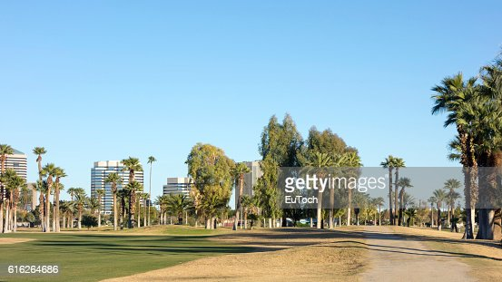 Dirt Road to Phoenix Downtown, AZ : Stock Photo