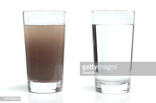 Dirty and Clean Water in Glasses
