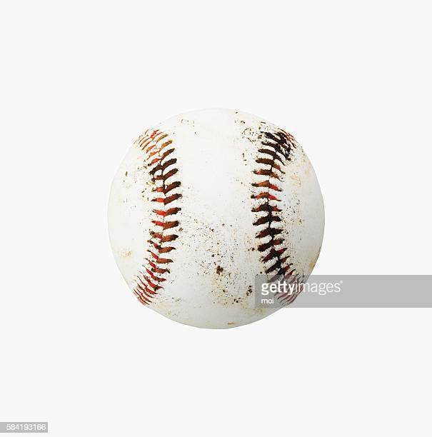 A Dirty Baseball on a White Background