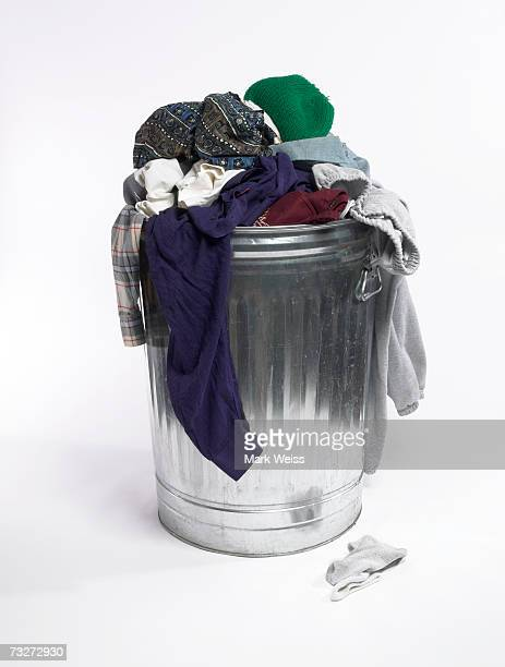 Dirty clothes in trash can