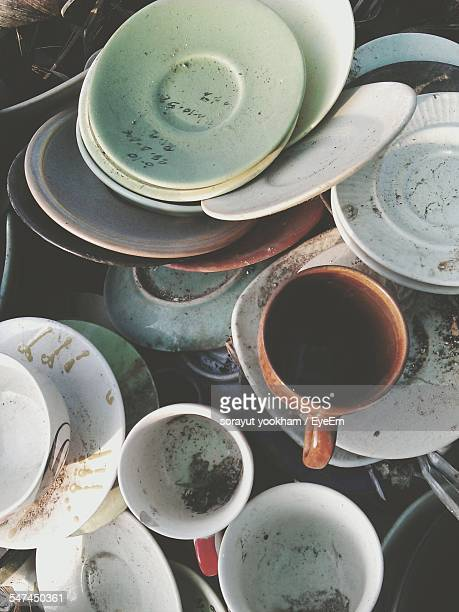 Dirty Coffee Cups And Plates