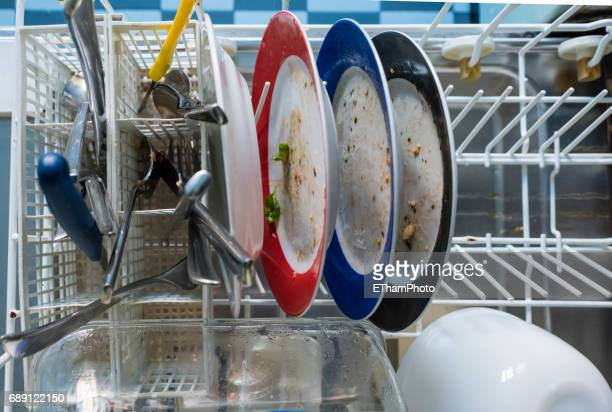 Dirty dishes in a dishwasher
