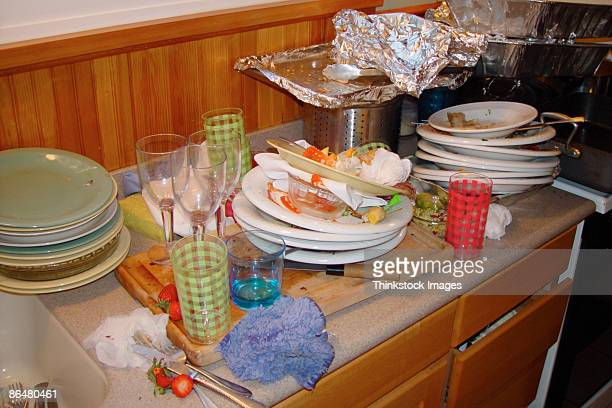Dirty dishes on counter