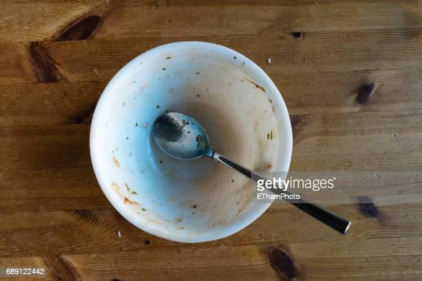 Dirty empty bowl, seen from above