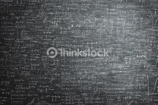 dirty grunge chalkboard full of mathematical problems and formula : Stock Photo