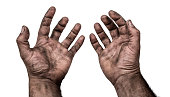 Dirty hand of worker, male