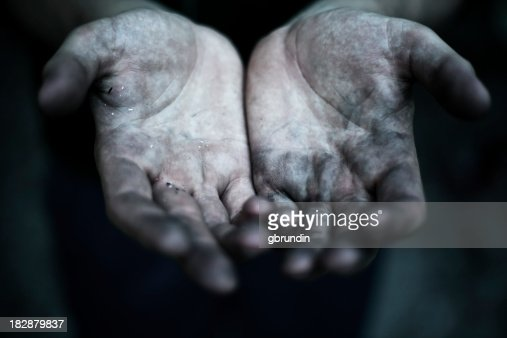 Dirty Hands Reaching Out Towards Camera Stock Photo ...