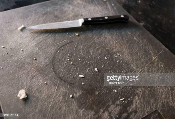 Dirty kitchen knife