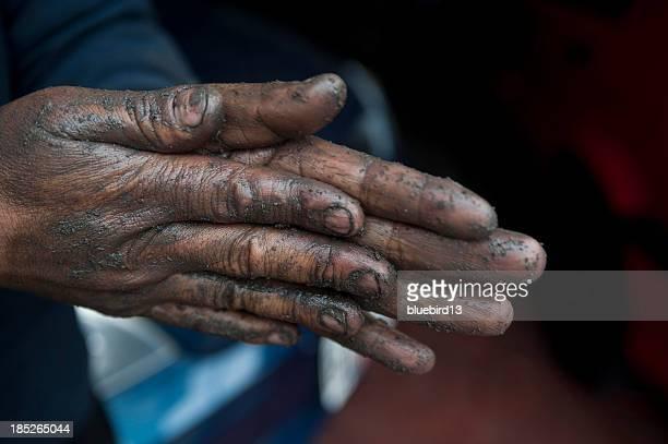 Dirty mechanic hands