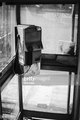 dirty old public telephone in thailand : Foto stock