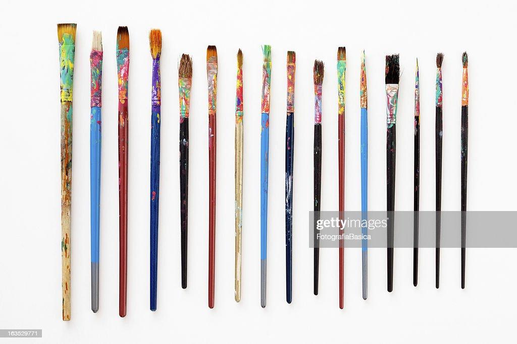 Dirty paintbrushes : Stock Photo