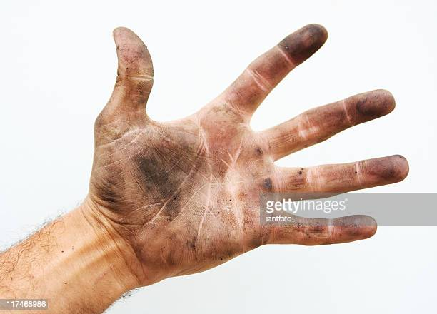 Dirty palm der hand.