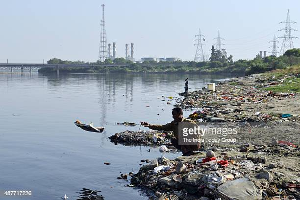 Dirty polluted Yamuna river near ITO in New Delhi