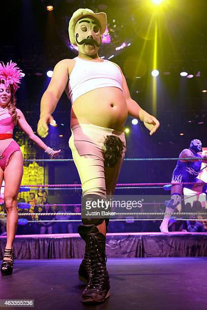 Dirty Sanchez at Lucha VaVOOM Valentine's Show 'Dangerous/Beautiful' at The Mayan on February 12 2015 in Los Angeles California