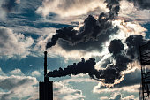 Heavy smoke and air pollution in a german city