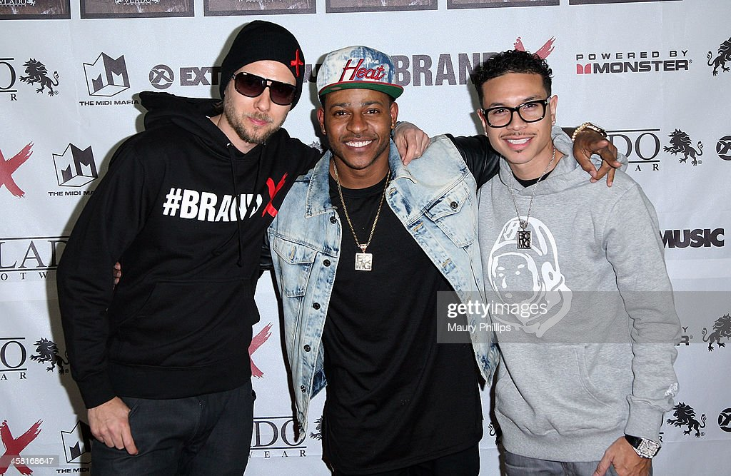 Dirty Swift, Eric Bellinger and guest attend Brand X Live with Eric Bellinger at the El Rey Theatre on December 19, 2013 in Los Angeles, California.