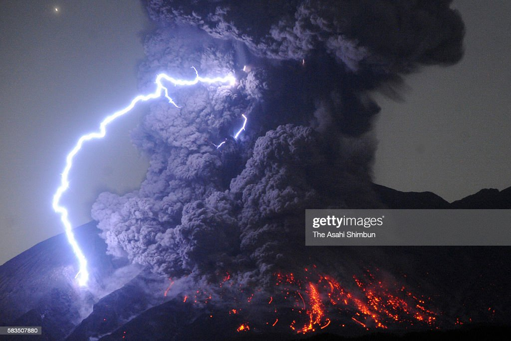 A dirty thunderstorm occurs over Mount Sakurajima as the volcano erupts violently at 12:03 am on July 26, 2016 in Tarumizu, Kagoshima, Japan. The eruption occurred at the mountain's Showa crater. This is the first time that the active volcano in southern Kyushu has spewed out a smokestack that high since an eruption on August 18, 2013, according to the Kagoshima Meteorological Office.