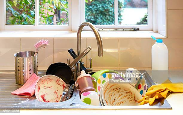 Dirty washing up in sink