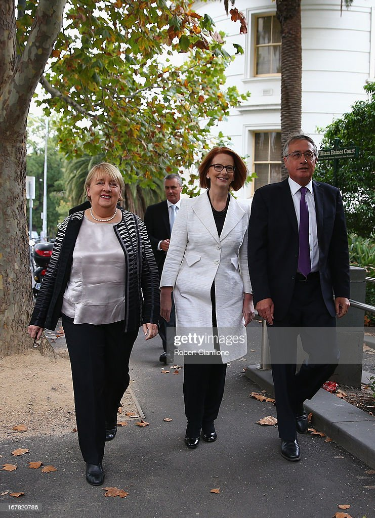 Disability Reform Minister Jenny Macklin, Australian Prime Minister Julia Gillard and Treasurer Wayne Swan are seen after a press conference at the Commonwealth Parliamentary Office on May 1, 2013 in Melbourne, Australia. Gillard has announced that the Federal Government will increase the Medicare levy on income tax from 1.5 to two percent to help fund the National Disability Insurance Scheme (NDIS). The levy will begin on July 1, 2014 and is expected to raise around $3.2 billion annually towards the NDIS which is expected to cost $8 billion per year.