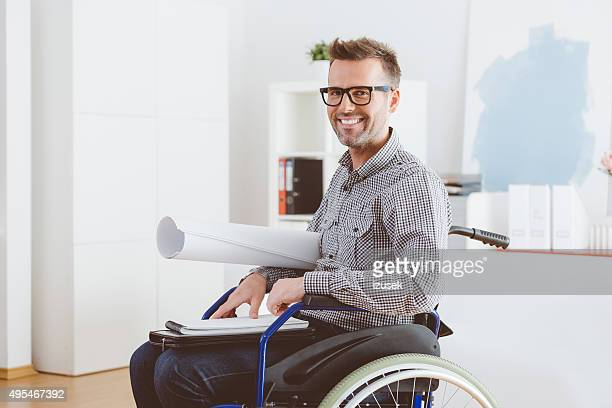 Disabled architect working in an home office