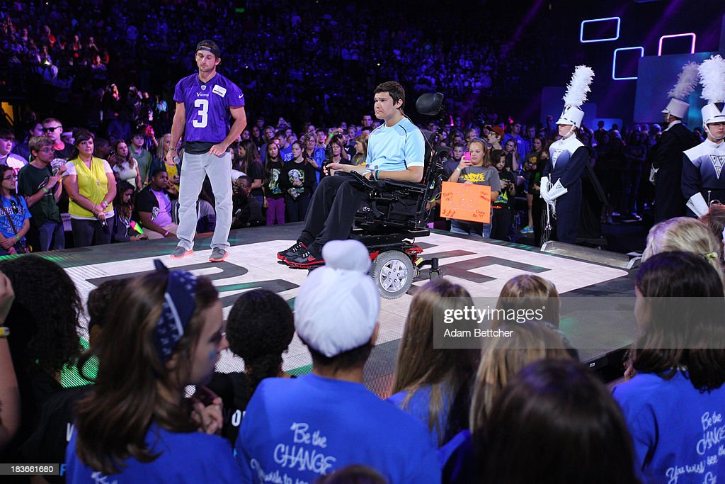 Disabled athlete Jack Jablonski speaks to the crowd during the We Day Minnesota event at the Xcel Energy Center in St. Paul, Minnesota on October 8, 2013