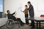 Disabled businessman with his colleagues in a board room during a meeting