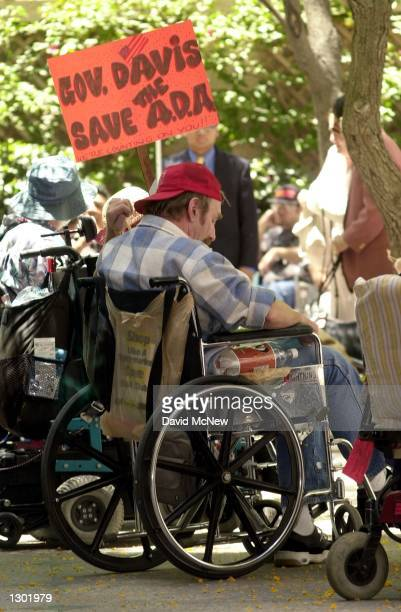 Disabled demonstrators rally June 13 2000 in Los Angeles CA to protest the state of California''s challenge to the Americans with Disabilities Act of...