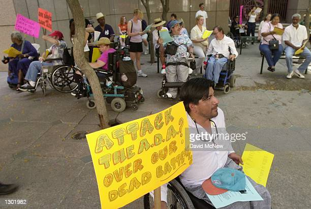 Disabled demonstrators rally June 13 2000 to protest the state of California''s challenge to the Americans with Disabilities Act of 1990 in the...
