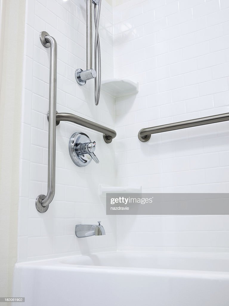 Grab Bars For Disabled : Disabled handicapped shower with grab bars stock photo