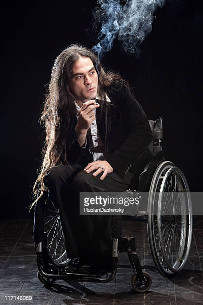 Disabled man immersed in thought.