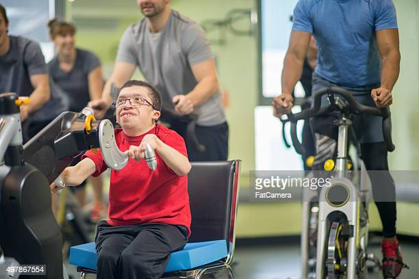 Disabled Man in a Cycling Class