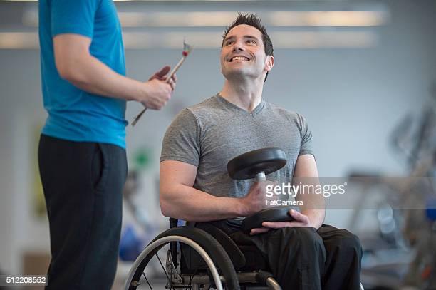 Disabled Man Lifting Dumbbells
