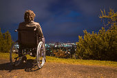 Disabled man near ledge